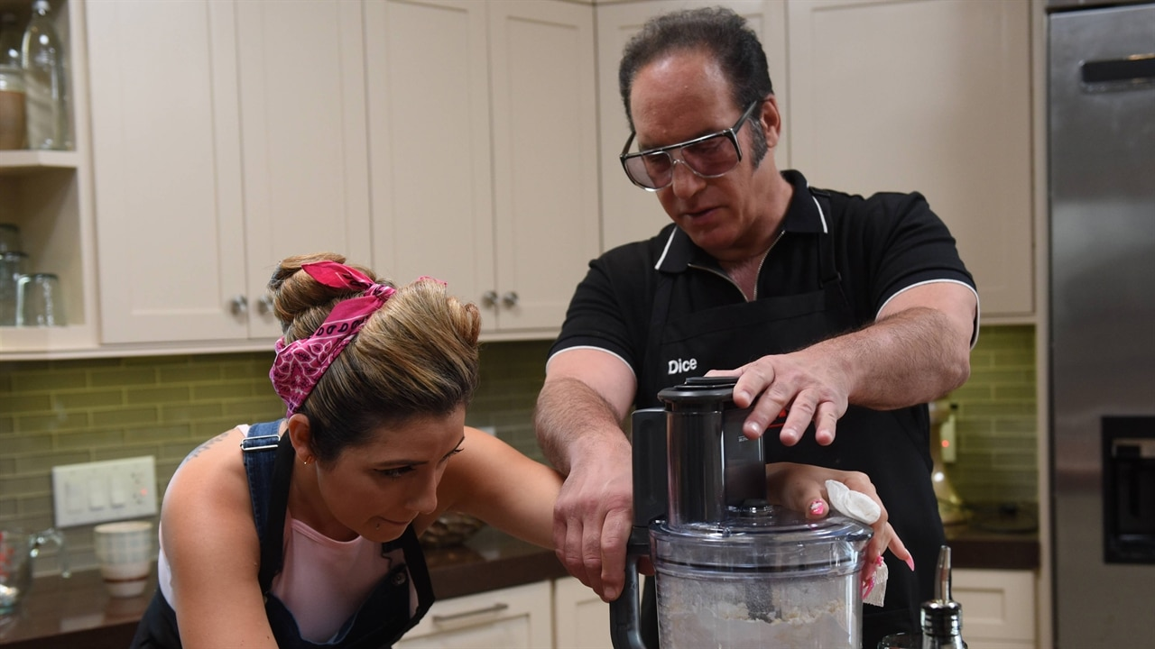 The Kitchen Hosts watch my kitchen rules season 1 episode 3: andrew dice clay hosts