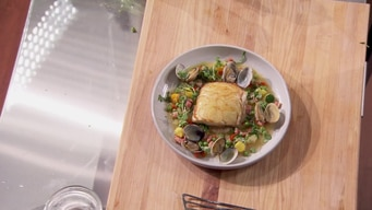 cooking demo: potato crusted sea bass (extended) tile image