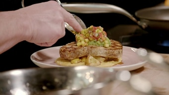 cooking demo: swordfish & corn puree tile image